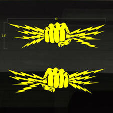 """Fist Lightning Bolts Electrician Power Set of 2 YELLOW Decal Stickers 13""""x3.5"""""""