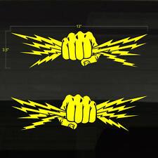 "Fists Lightning Bolt Electrician Power Expert Decals Stickers 13""x3.5"" Lineman"