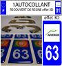 1 sticker plaque immatriculation MOTO DOMING 3D RESINE DEPARTEMENT AUVERGNE 63