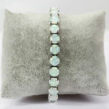 Lovely Sterling Silver Dipped Round White Fire 6mm Opal Tennis Bracelet 19.5cm