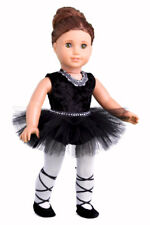 Black Swan - Ballerina Outfit for 18 inch Doll, Ballet Slippers Leotard Tutu
