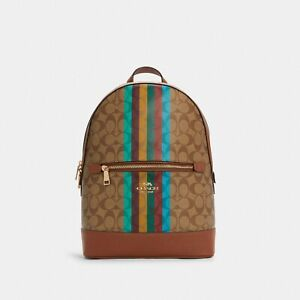 NWT Coach Kenley Backpack In Signature Canvas With Stripe