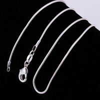 5PCS/SET wholesale TOP Grande solid Silver 1mm snake chain Necklace 16-34inch