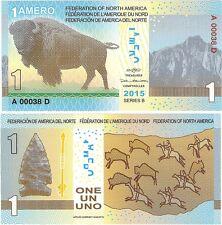 Federation of North America 1 Amero 2015 NEW Polymer Fantasy Banknote - Bison