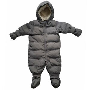 Baby Gap 6-12M Down Puffer Snow Suit Gray Hooded Snowsuit w/ Mittens & Booties
