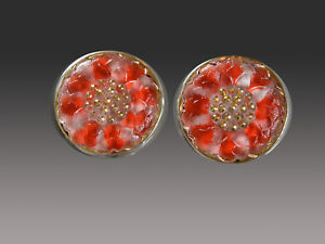 SALE- AMY KAHN RUSSELL VINTAGE CZECH GLASS STERLING CLIP/POST EARRINGS