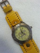 imitation leather yellow bracelet wrist watch crown