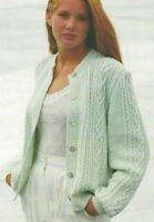 """Ladies Cardigan with Cables and round neck Knitting Pattern DK 30-44"""" 1089"""