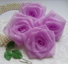 "3"" Light Purple Organza Ribbon Rose Flowers / Appliques - Lots 10 Pcs (R0083U)"