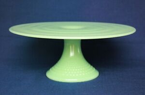 """Jadeite Cake Stand by Mosser Glass, Hobnail Cake Plate 11 1/2"""" Wide NEW"""