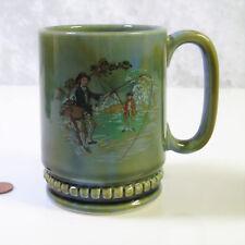 IRISH WADE Porcelain LG 14oz COFFEE MUG Tea Cup Fly Fishing River Scene Ireland