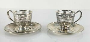 Antique Frank M Whiting Company Sterling Silver Demitasse Cups Holder Saucers