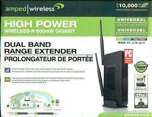 Amped Wireless SR20000G Wireless-N 2.4 & 5.0 GHz Range Extender 802.11 a/b/g/n