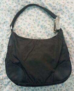 Prada tessuto black nylon hobo shoulder bag