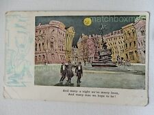 WHAT THE MOON SEES PICADILLY CIRCUS PRINTED COMIC POSTCARD POSTMARKED 1904 MFM32