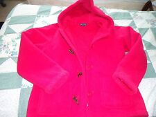 Woman's size Med 10-12 Lands' End Deep Pink Fleece Hoodie Coat & Matching Gloves