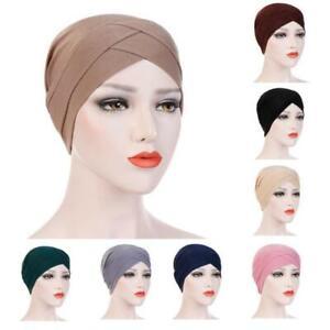 Women Muslim Stretch Turban Hat Chemo Cap Hair Loss Head Scarf Wrap Cover Plain