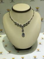 Platinum Sterling Silver Alexandrite & White Sapphire Halo Drop Tennis Necklace