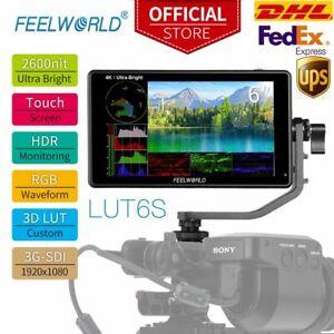 "DHL FEELWORLD LUT6S 6 6"" 2600nits HDR/3D LUT 3G-SDI Field Monitor 4K for DSLR"