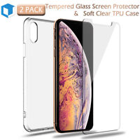 For iPhone X XS MAX XR Full Body Tempered Glass Screen Protector + Back TPU Case