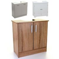 UNDER SINK CABINET BASIN STORAGE UNIT CUPBOARD BATHROOM WOOD WHITE VANITY DOORS