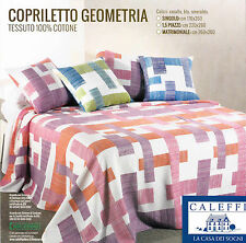 Copriletto estivo GEOMETRIA. Singolo, 1 Piazza. CALEFFI 100% Cotone Blu, Corallo