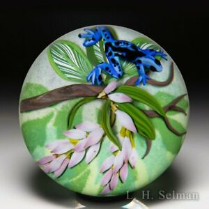 """Cathy Richardson 2021 """"Blue Tropical Frog"""" and pink flowers glass paperweight"""