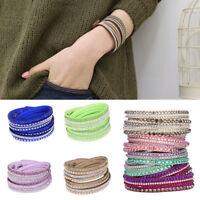 Women Crystal Wrap Cuff Wristband Leather Bangle Punk Bracelet Fashion Gift