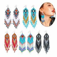 Multicolour Seed Beaded Earrings Bohemian Long Drop Dangle Handmade New Jewelry