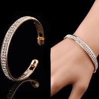 Women Silver Gold Tone Crystal Rhinestone Bangle Cuff Bracelet Fashion Jewelry