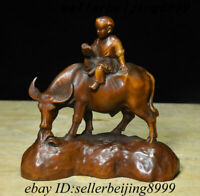 Collect Antique Chinese Boxwood Wood Carving Tongzi Boy Ride Ox Bull Oxen Statue