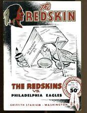 1954 Eagles v Redskins Program 10/17 Burk 7 TDs Griffith Stadium Ex/MT 43539