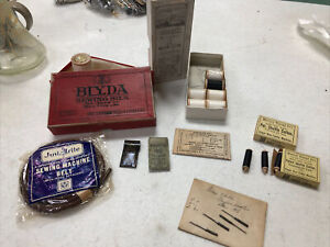 10 Willcox & Gibbs Chain Stitch Sewing Machine Needles, belt, thread antique box