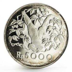 Indonesia 5000 rupiah Animal series Orangutan proof silver coin 1974