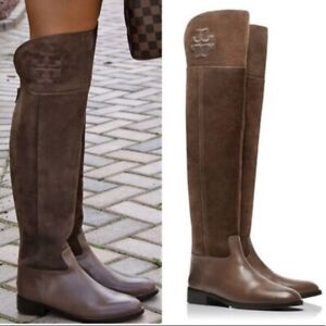 Tory Burch SIMONE Leather Suede Taupe Boots 5.5 Equestrian Booties Over The Knee