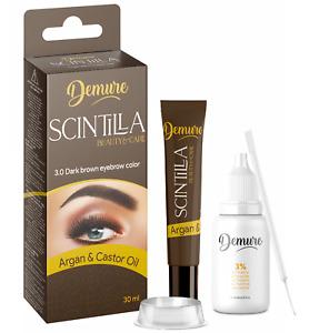 DEMURE Henna augenbrauenfarbe Kit PRO Formula Brauenfarbe mit Argan & Rizinusöl