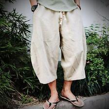 Men's Japanese Samurai Boho Summer Beach Harem Linen Blend Pants plus size