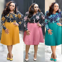 Womens Plus Size Dress Casual Midi Skirt Floral Long Sleeve Chiffon Cocktail