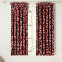 John Lewis Amber Leaf Pencil Pleat Lined Curtains Red W228cm D137cm