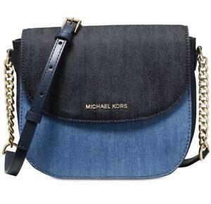 New Michael Kors Half Dome Crossbody Gold Denim blue magnetic Bag Cotton snap