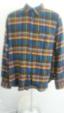 Woolrich Flannel Shirt Mens L Long Sleeve blue Plaid