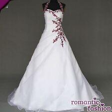 ♥ nuevo: tamaño 34-54 vestido de novia, vestido de novia blanco y burdeos + nuevo + inmediatamente +w021 ♥