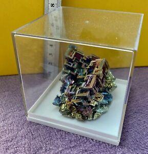 *AKTION* Wismut Kristall in Schaudose bismuth crystal bismuto Edelstein Geschenk