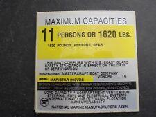 "MASTERCRAFT MARISTAR 200VRS MAXIMUM CAPACITIES BOAT DECAL 4"" X 4"""