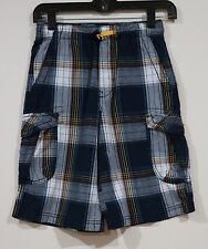 EUC Unionbay Boys Back To School Blue White Yellow Plaid Cargo Shorts Size 10