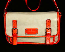 KATE SPADE PXRU3276 Essex Scout Crossbody Cream Orange 2 Buckle Flap Pocket