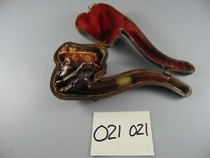 MEERSCHAUM HAND CARVED ESTATE SMOKING PIPE 19th CENTURY LADY CASED