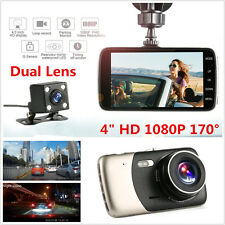 "4"" HD Dual Lens Car DVR Dash Cam Video Recorder Night Vision GPS RearView Camera"