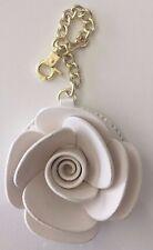 NEW Betsey Johnson Handbag Charm Key Chain Faux Leatherl White Bone Rose Flowers