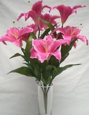 "BEAUTY Large Tiger Lily Bush 9 Artificial Silk Flowers 18"" Bouquet 687BT"